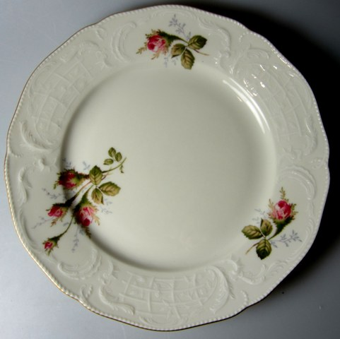 Make sure your browser can show photos and reload this page to see Rosenthal - Continental China Ivory Rose Salad plate (sansoucci shape); 7 7/8