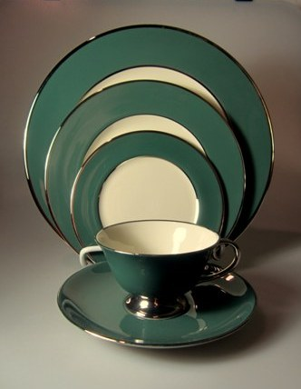 Make sure your browser can show photos and reload this page to see Flintridge China Platinum Teal - Rim Place setting 5-piece  Includes: dinner, salad, bread & butter, cup & saucer