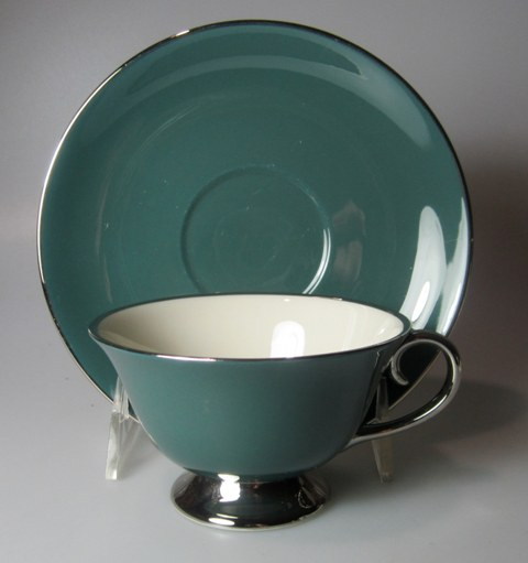 Make sure your browser can show photos and reload this page to see Flintridge China Platinum Teal - Rim Cup and saucer set 2 1/4