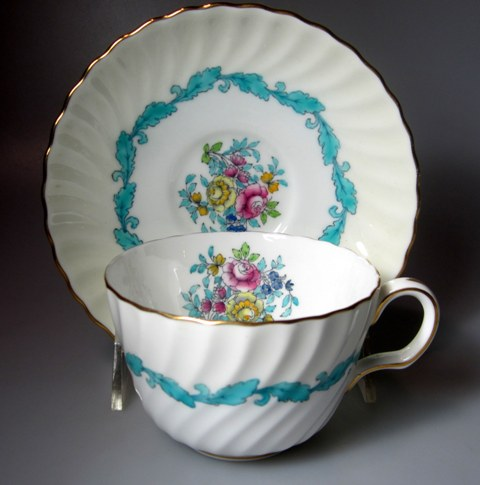 Make sure your browser can show photos and reload this page to see Minton China Ardmore - Blue S363 Cup and saucer set  3 1/2