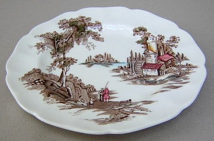 Make sure your browser can show photos and reload this page to see Johnson Brothers Dinnerware  Old Mill Brown-Multicolor Platter, small  12