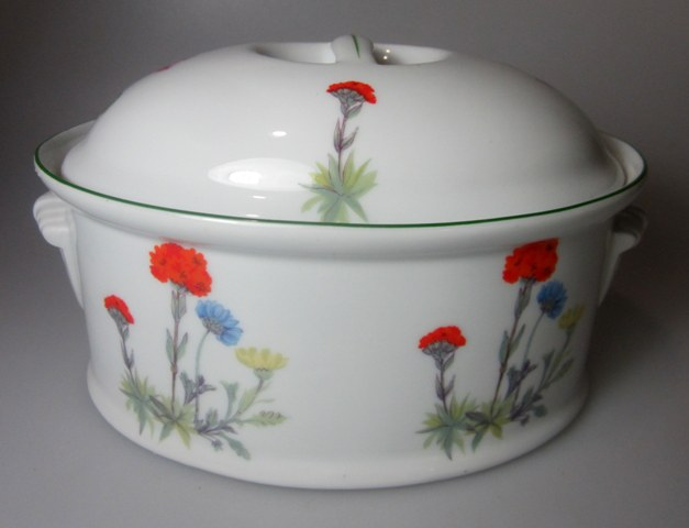Make sure your browser can show photos and reload this page to see Louis Lourioux China Wild Flower Covered veg, (oval) /Casserole  (1QUART)  (has Philippe Deshoulieres Backstamp)