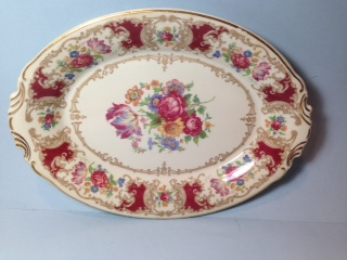 Make sure your browser can show photos and reload this page to see Syracuse China Romance - Maroon Platter, medium --14