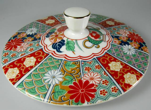 Make sure your browser can show photos and reload this page to see Arita Dinnerware Imari Fan  Covered veg, round, (lid only)