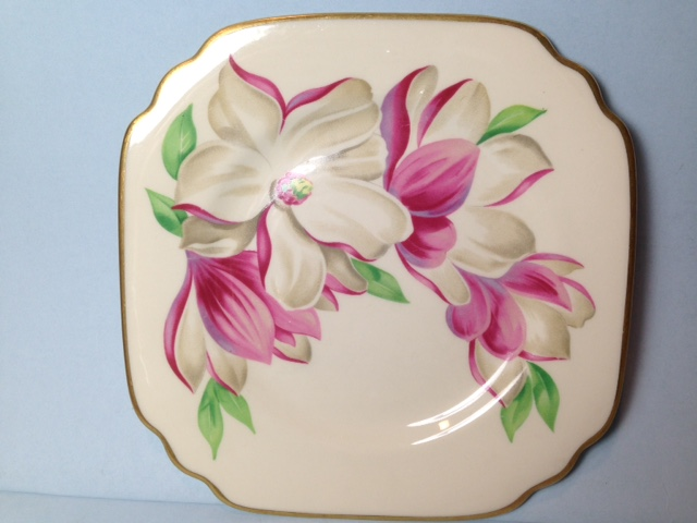Make sure your browser can show photos and reload this page to see Syracuse China Floral Accent Plat Accent plate --The Magnolia