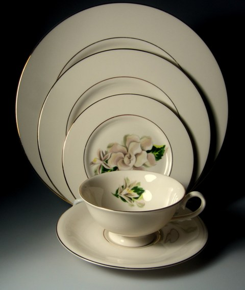 Make sure your browser can show photos and reload this page to see Fine Arts China Remembrance  Place setting 5-piece   Preowned -   Little use if any