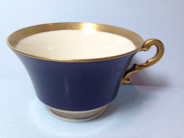 Make sure your browser can show photos and reload this page to see Syracuse China Diane - Cobalt Cup only (no saucer)