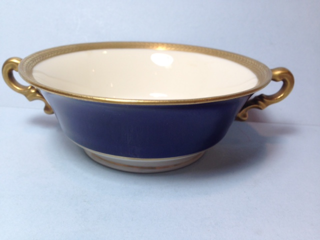 Make sure your browser can show photos and reload this page to see Syracuse China Diane - Cobalt Cream soup (bowl only)