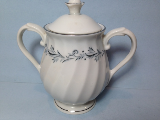 Make sure your browser can show photos and reload this page to see Syracuse China Sonata Sugar bowl with lid
