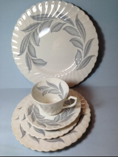 Make sure your browser can show photos and reload this page to see Syracuse China Dawn Place setting 5-piece  Cup,sau,dinner (minor pattern wear), salad,B&B