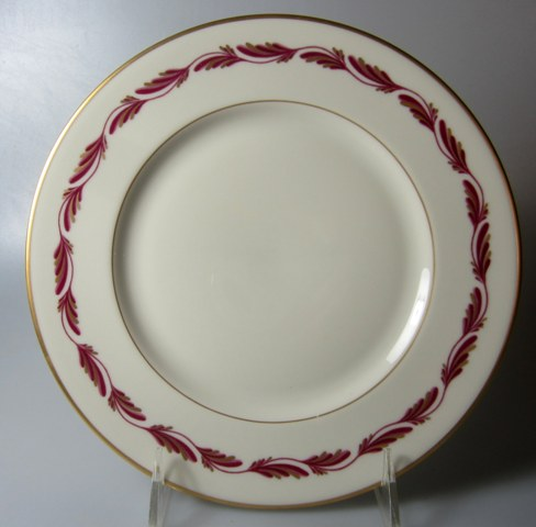 Make sure your browser can show photos and reload this page to see Franciscan China Arcadia - Maroon Salad plate   8 1/8
