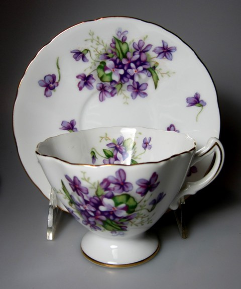 Make sure your browser can show photos and reload this page to see Rossetti China Spring Violets  Cup and saucer set  (Made in Japan) ftd cup is 3 7/8