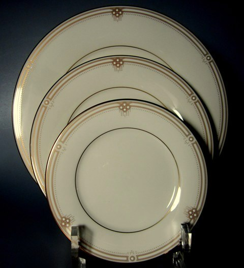 Make sure your browser can show photos and reload this page to see Noritake China Satin Gown 7730 Place setting 3-piece  (1 dinner, 1 salad, 1 bread & butter plate