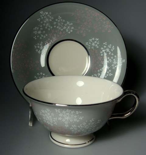 Make sure your browser can show photos and reload this page to see Castleton - USA China Lace  Cup and saucer set 2 1/8