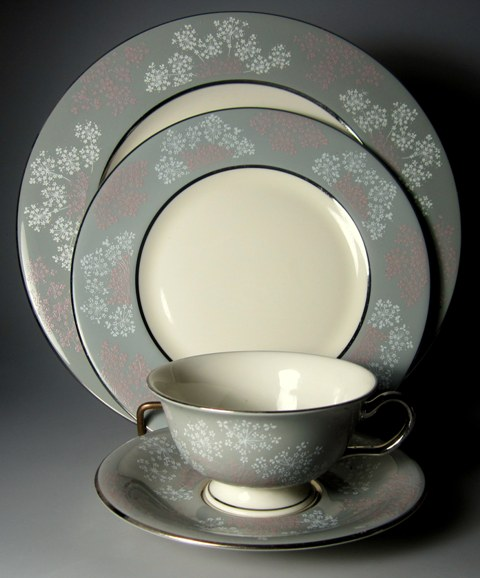 Make sure your browser can show photos and reload this page to see Castleton - USA China Lace  Place setting 4-piece  (1 dinner, salad, cup, saucer)  (no bread & butter plate)