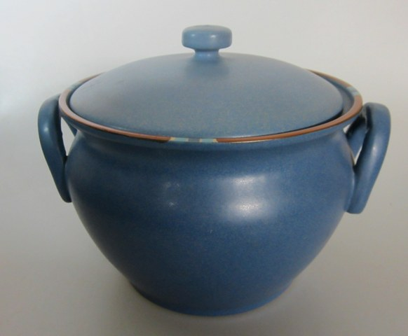 Make sure your browser can show photos and reload this page to see Dansk China Mesa - Sky Blue Tureen with Lid (no ladle) /BEAN POT 5 3/4