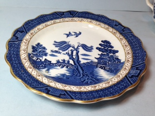 Make sure your browser can show photos and reload this page to see Booths China Real Old Willow - Blue A8025/9073 Salad plate --7 3/4