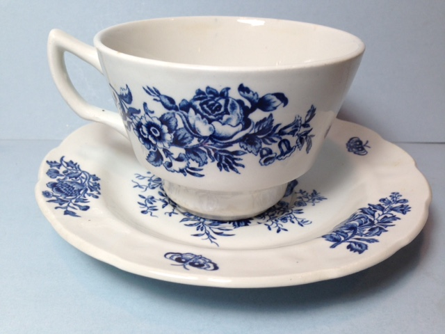 Make sure your browser can show photos and reload this page to see Booths China Peony - Blue A8021 Cup and saucer set Large-4