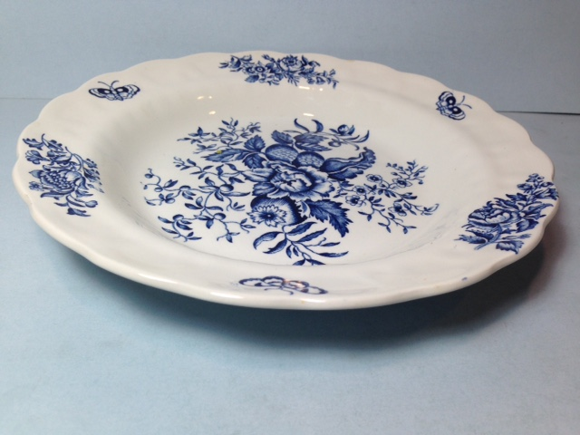 Make sure your browser can show photos and reload this page to see Booths China Peony - Blue A8021 Soup bowl --8 3/8
