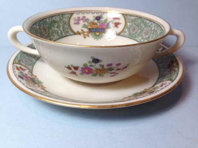Make sure your browser can show photos and reload this page to see Lenox China Peking W24 Cream soup bowl and stand --4 3/4