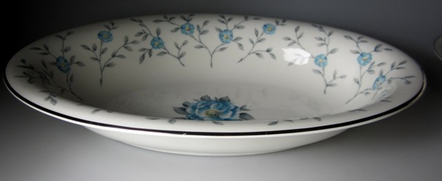 Make sure your browser can show photos and reload this page to see Ancestral - Am Hostess China Blue Lace Oval vegetable  11 1/8