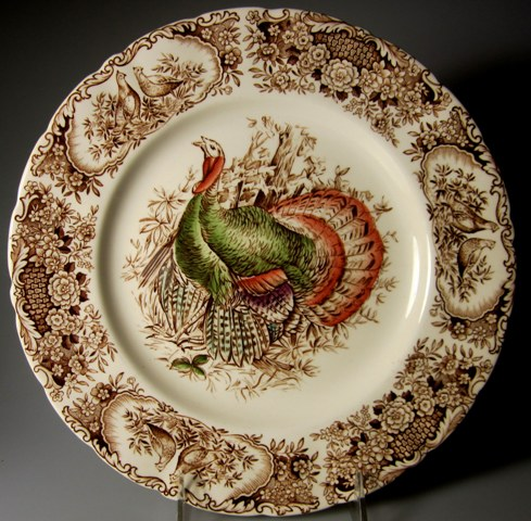 Make sure your browser can show photos and reload this page to see Johnson Brothers Dinnerware  Wild Turkeys Dinner plate 10 3/4