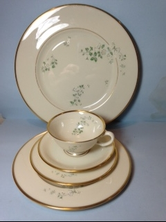 Make sure your browser can show photos and reload this page to see Lenox China Summer Breeze Place setting 5-piece  --Cup,sau,dinner,salad,B&B plates