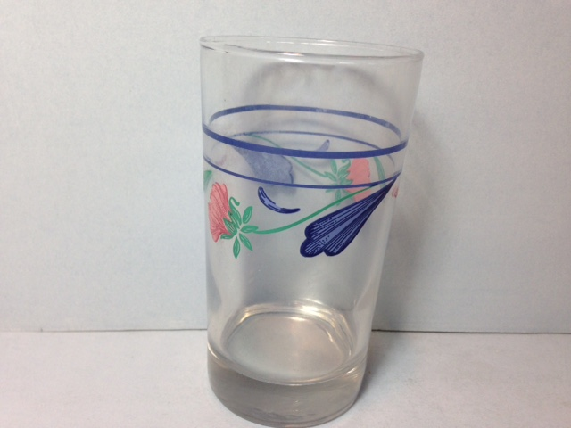 Make sure your browser can show photos and reload this page to see Lenox China Poppies On Blue Tumbler --juice glass--4 1/4