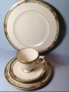 Make sure your browser can show photos and reload this page to see Lenox China Crestwood  Place setting 5-piece  --Cup, saucer, dinner,salad,B&B plates