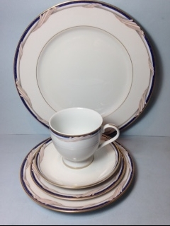 Make sure your browser can show photos and reload this page to see Gorham China Golden Swirl Place setting 5-piece  --Cup,sau,dinner,salad,B&B plates