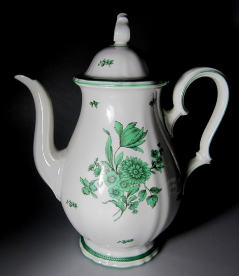 Make sure your browser can show photos and reload this page to see Rosenthal - Continental China Green Bloom Coffeepot and lid (chippendale shape)