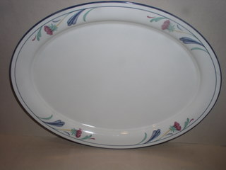 Make sure your browser can show photos and reload this page to see Lenox China Poppies On Blue Platter, medium --14 1/4
