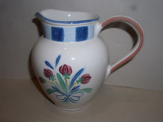 Make sure your browser can show photos and reload this page to see Lenox China Poppies On Blue Pitcher - 1 qt --6 3/4