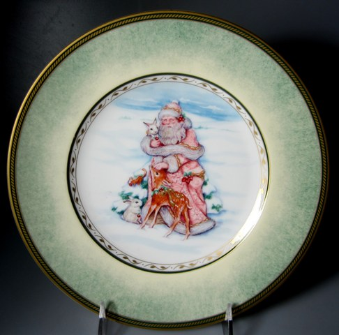 Make sure your browser can show photos and reload this page to see Fitz & Floyd China Winter Holiday Salad plate Santa