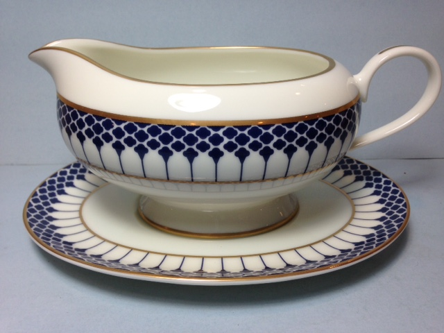 Make sure your browser can show photos and reload this page to see Gorham China Marbury - Cobalt Blue Gravy-attached stand