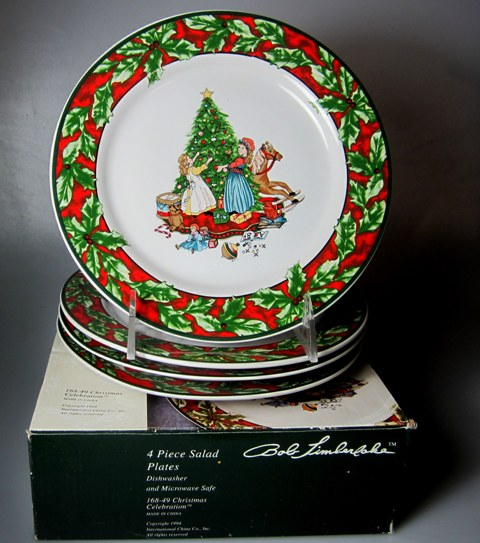 Make sure your browser can show photos and reload this page to see International - Sunmarc China Christmas Celebration 168 Salad plate  (SET OF 4) IN BOX 7 3/4