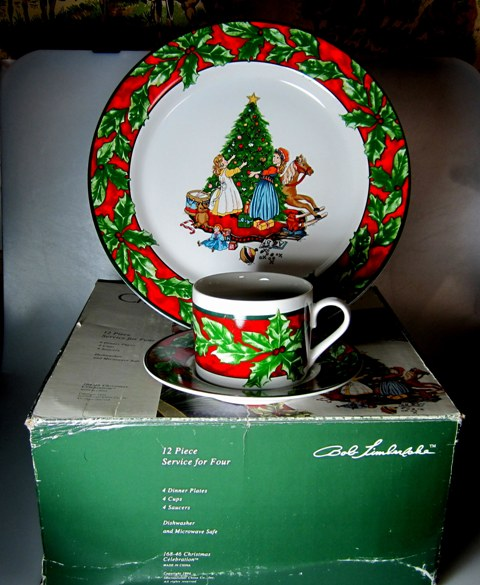 Make sure your browser can show photos and reload this page to see International - Sunmarc China Christmas Celebration 168 Dinner plate s & cups & saucers (selling set of 4) IN BOX