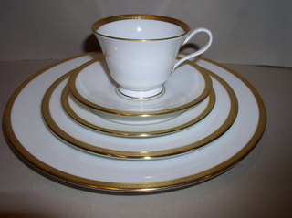 Make sure your browser can show photos and reload this page to see Oxford (Div Of Lenox) China Bennington Place setting 5-piece  --Cup,sau,dinner,salad,B&B plates