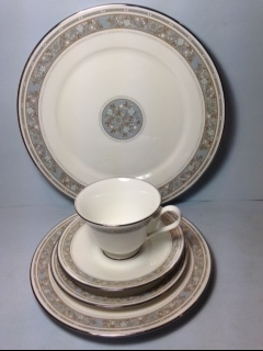 Make sure your browser can show photos and reload this page to see Oxford (Div Of Lenox) China Rendezvous Place setting 5-piece  --Cup,sau,dinner,salad,B&B plates