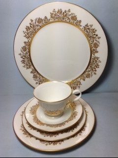 Make sure your browser can show photos and reload this page to see Oxford (Div Of Lenox) China Golden Dawn Place setting 5-piece