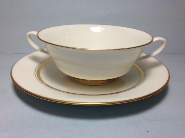 Make sure your browser can show photos and reload this page to see Oxford (Div Of Lenox) China Andover Cream soup bowl and stand