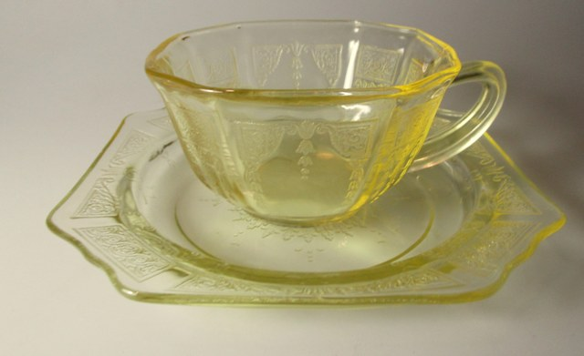 Make sure your browser can show photos and reload this page to see Anchor Hocking Crystal Princess - Topaz Cup and saucer set  cup with bread plate