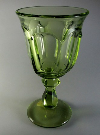 Make sure your browser can show photos and reload this page to see Imperial Glass - Ohio Old Williamsburg - Verde Green  Wine 5 1/4